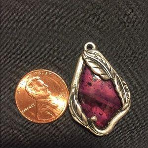 Vintage floral silvertone purple teardrop pendant
